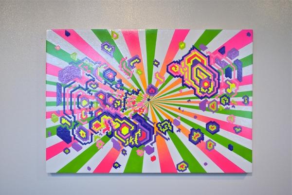 """Acrylic, Gouache on Panel (21""""x30""""x1.5"""")"""