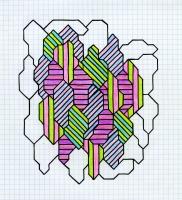 "GEODE #1 (8.25""x7.5"") SHARPIE & COLORED PENCIL ON VELLUM PAPER"