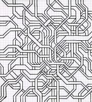 "TNAGLED TANGIBLY (8.25""x7.5"") SHARPIE ON VELLUM PAPER"