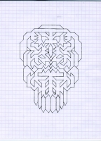 "SKULL FACE (5.75""x7.5"") PENCIL ON VELLUM PAPER"