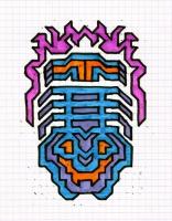 """ICON #6 (5.75""""x7.5"""") SHARPIE ON VELLUM PAPER"""