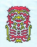 """ICON #4 (5.75""""x7.5"""") SHARPIE ON VELLUM PAPER"""