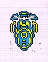 """ICON #14 (5.75""""x7.5"""") SHARPIE ON VELLUM PAPER"""