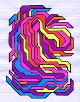 """CURVATURE (5.75""""x7.5"""") SHARPIE ON VELLUM PAPER"""